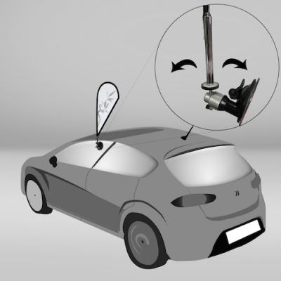 Detalle del Mini Fly Banner con su base para coche en la ventanilla