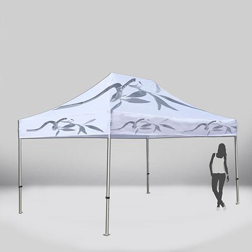 Carpa plegable de 3x 4,5 metros. Personalizable para montar stands en ferias y eventos.