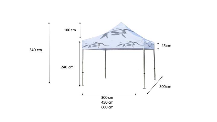 Medidas de las carpas personalizadas. Puede ser utilizada como stand para ferias y eventos.