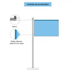 Representación con elementos y piezas de las banderas horizontales con velcro