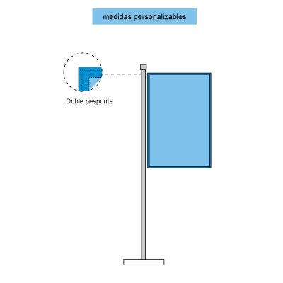 Infografía de las banderas verticales con cosido perimetral