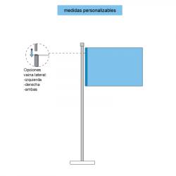 Representación con elementos y piezas de las banderas horizontales con vaina cerrada para palo