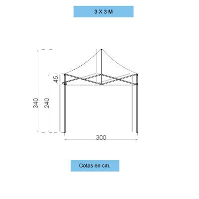 Infografía con dimensiones de la estructura de las carpas personalizadas plegables de 3x3 metros