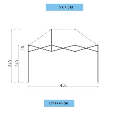Infografía con dimensiones de la estructura de las carpas personalizadas plegables de 3x4,5 m