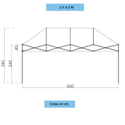 Infografía con dimensiones de la estructura de las carpas personalizadas plegables de 3x6 m