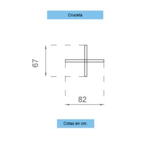 Representación con dimensiones y piezas de base cruz para bandera