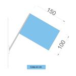 Representación con dimensiones y piezas de las banderas para fachadas