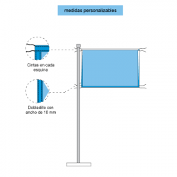 Representación con elementos y piezas de las banderas horizontales con cuerdas para su anudado