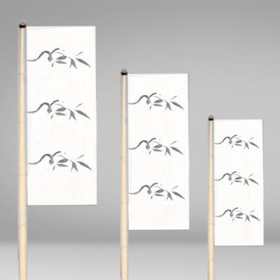 Bandera vertical con sugerencia de diseño con motivo floral