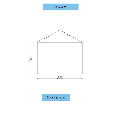 Infografía con dimensiones de las carpas personalizadas plegables de 3x3m