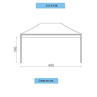 Infografía con dimensiones de las carpas personalizadas plegables de 3x4,5 metros