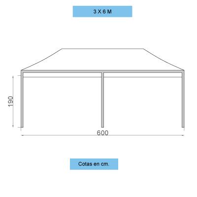 Infografía con dimensiones de las carpas personalizadas plegables de 3x6 metros
