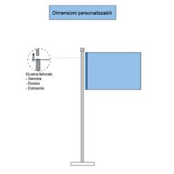 Rappresentazione con elementi e pezzi delle bandiere orizzontali con fodero chiuso per bastone