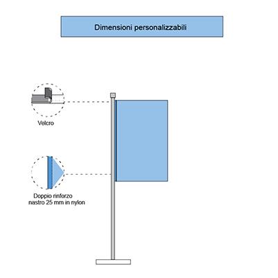 Immagine delle bandiere verticali con velcro