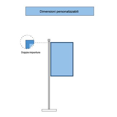 Immagine delle bandiere verticali con cucitura perimetrale