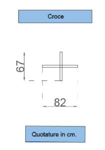 Struttura e misure tecniche della base a croce per Fly Banners